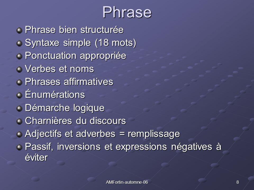 Phrase Phrase bien structurée Syntaxe simple (18 mots)