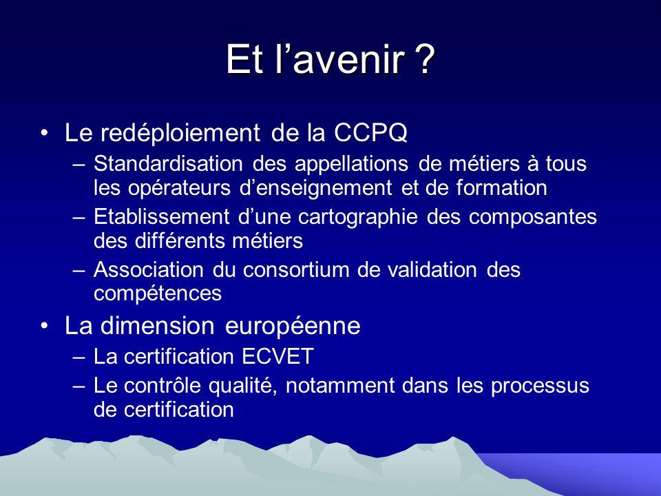 Et l'avenir Le redéploiement de la CCPQ La dimension européenne