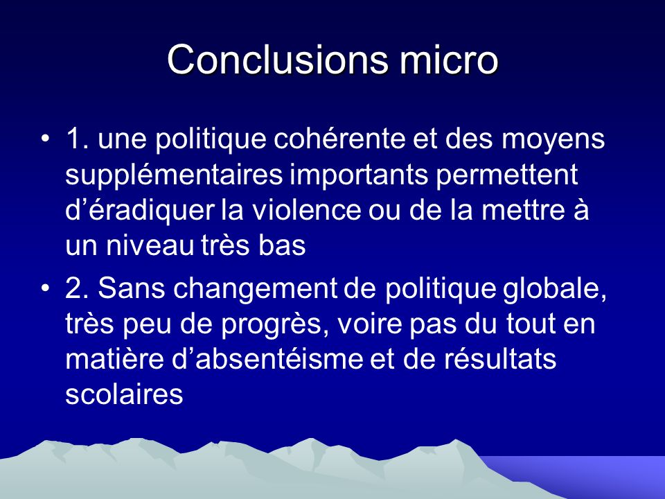 Conclusions micro