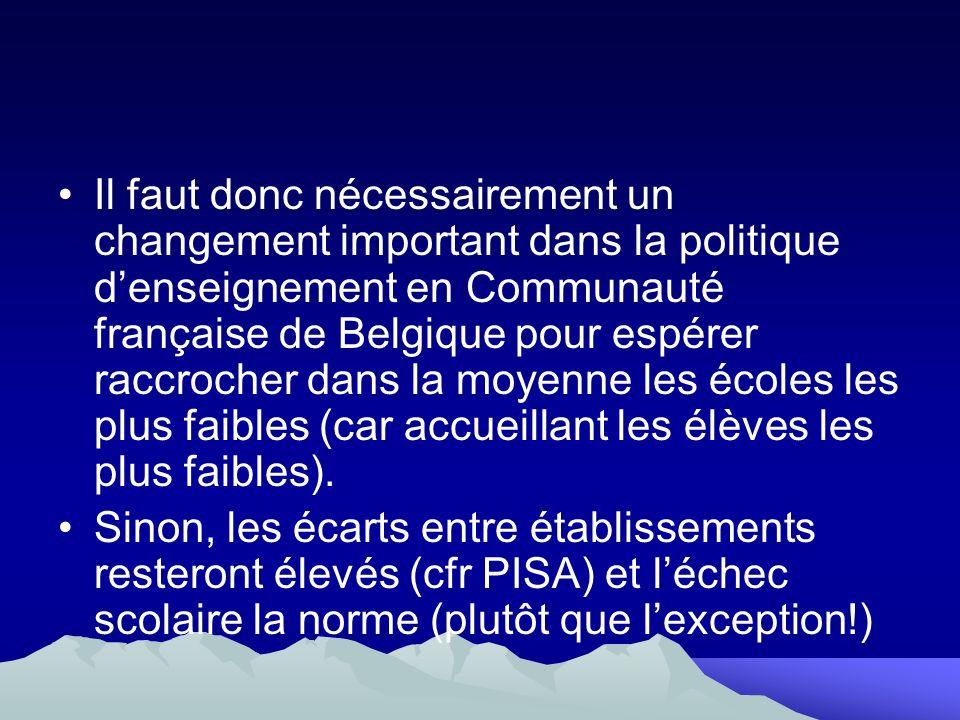 Il faut donc nécessairement un changement important dans la politique d'enseignement en Communauté française de Belgique pour espérer raccrocher dans la moyenne les écoles les plus faibles (car accueillant les élèves les plus faibles).
