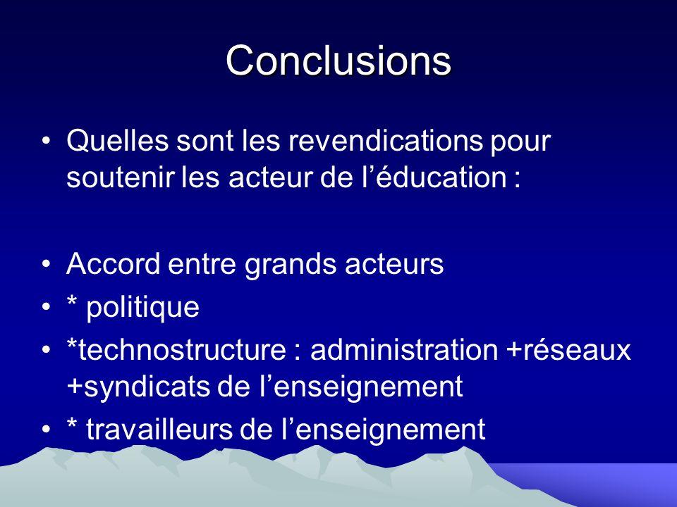 Conclusions Quelles sont les revendications pour soutenir les acteur de l'éducation : Accord entre grands acteurs.