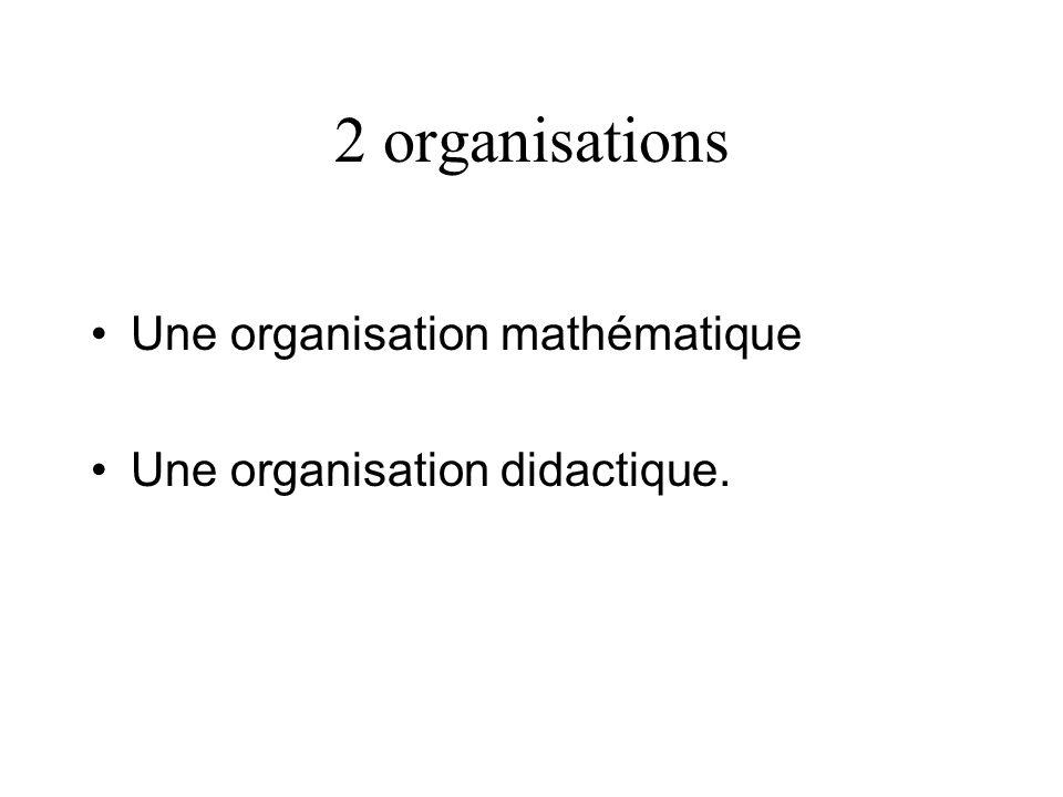 2 organisations Une organisation mathématique