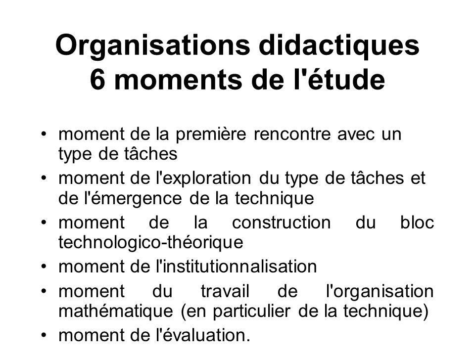 Organisations didactiques 6 moments de l étude