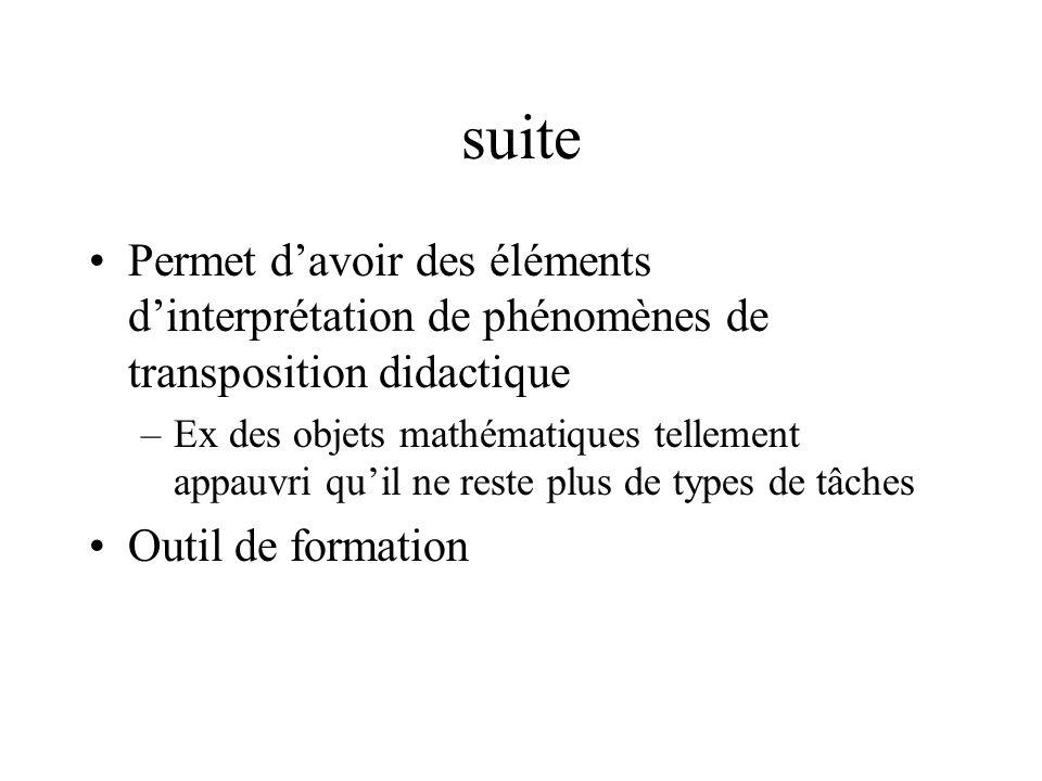 suite Permet d'avoir des éléments d'interprétation de phénomènes de transposition didactique.