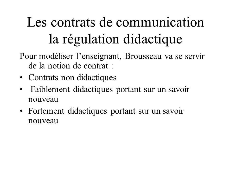 Les contrats de communication la régulation didactique