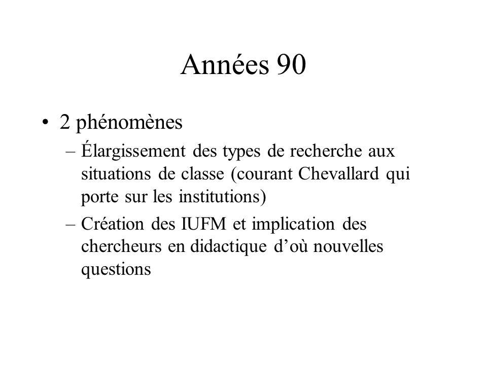 Années 90 2 phénomènes. Élargissement des types de recherche aux situations de classe (courant Chevallard qui porte sur les institutions)