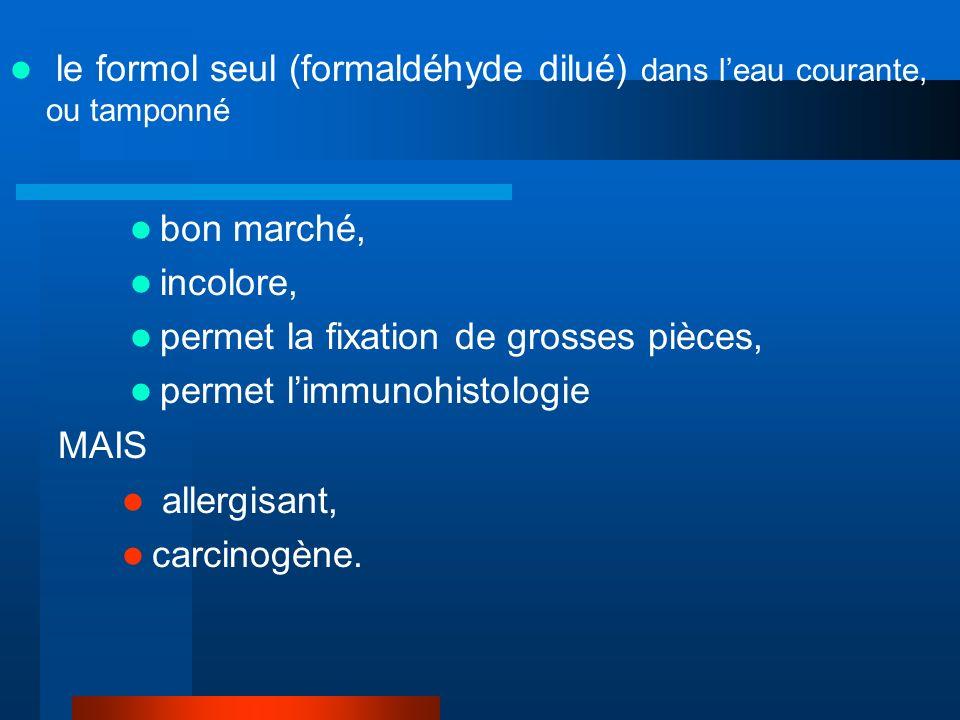 le formol seul (formaldéhyde dilué) dans l'eau courante, ou tamponné
