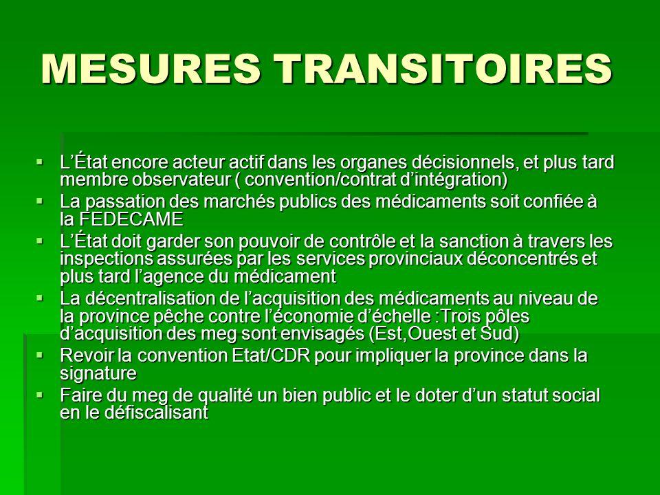 MESURES TRANSITOIRES L'État encore acteur actif dans les organes décisionnels, et plus tard membre observateur ( convention/contrat d'intégration)