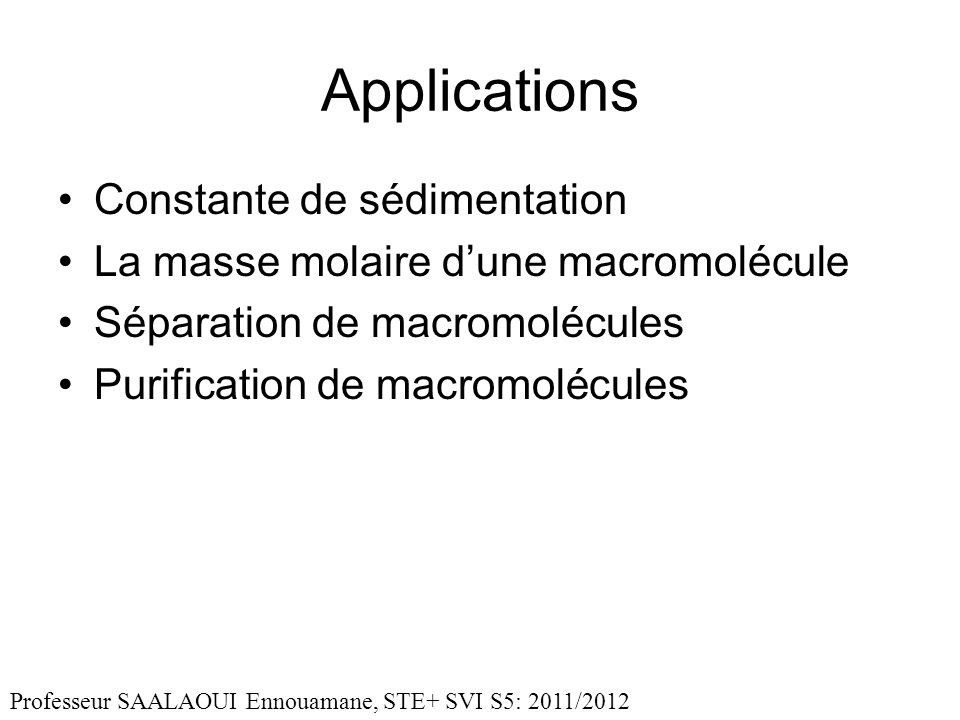 Applications Constante de sédimentation