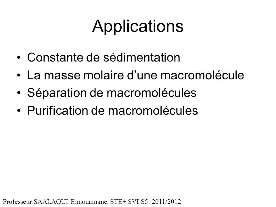 Applications Constante de sédimentation