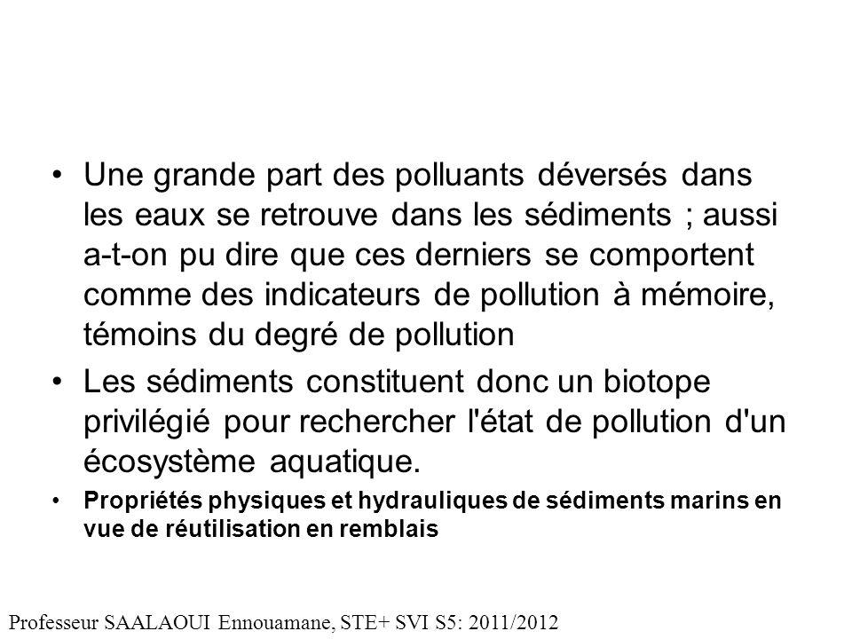 Une grande part des polluants déversés dans les eaux se retrouve dans les sédiments ; aussi a-t-on pu dire que ces derniers se comportent comme des indicateurs de pollution à mémoire, témoins du degré de pollution