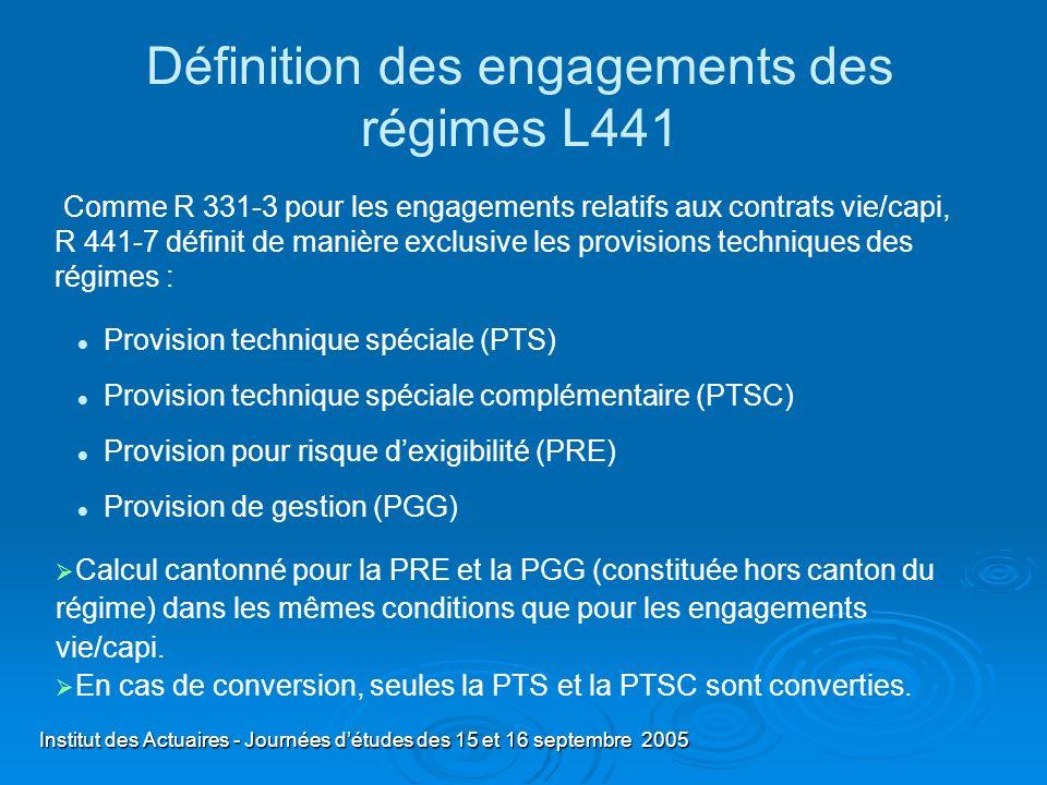 Définition des engagements des régimes L441