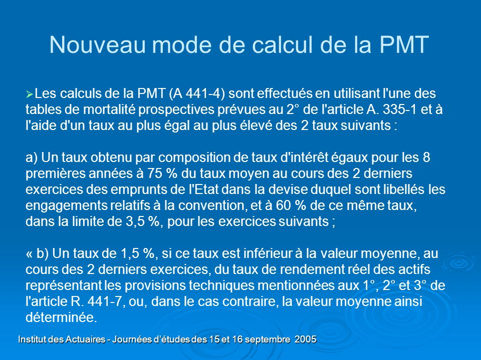 Nouveau mode de calcul de la PMT