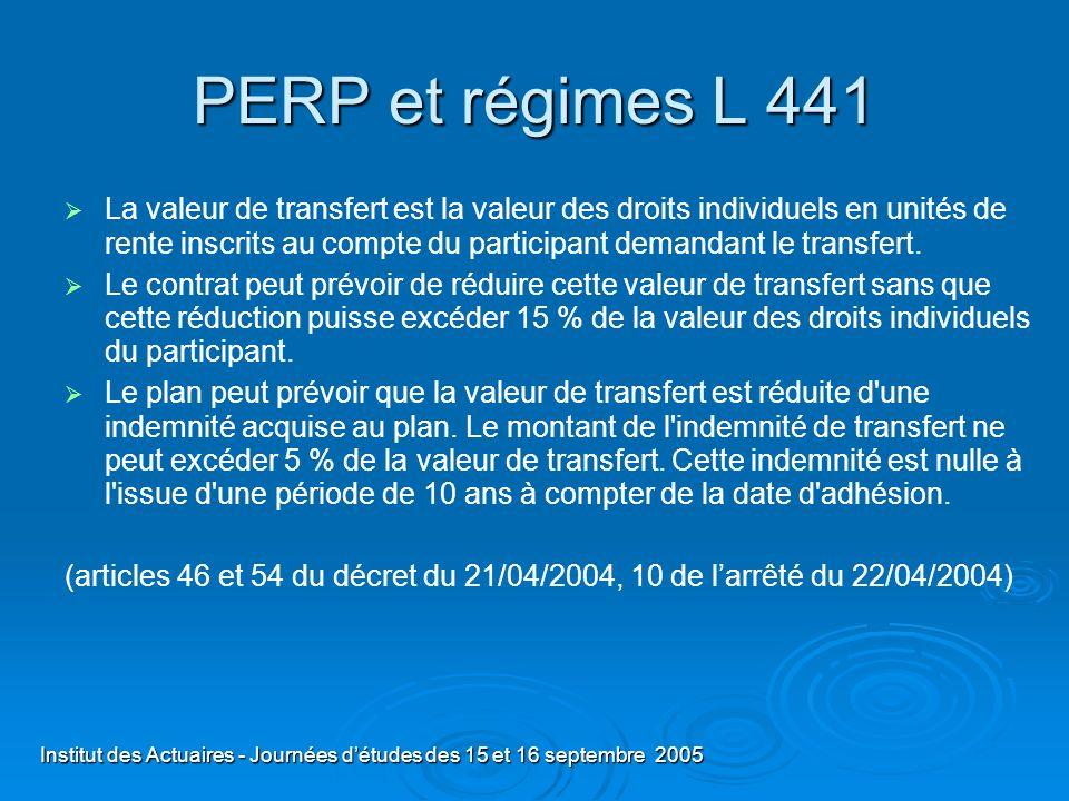 PERP et régimes L 441