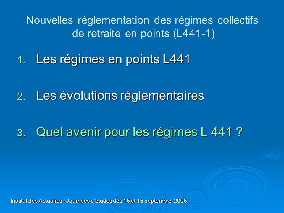 Les évolutions réglementaires Quel avenir pour les régimes L 441