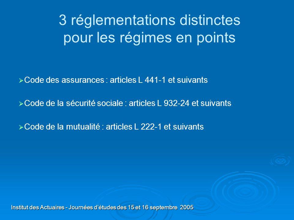 3 réglementations distinctes pour les régimes en points