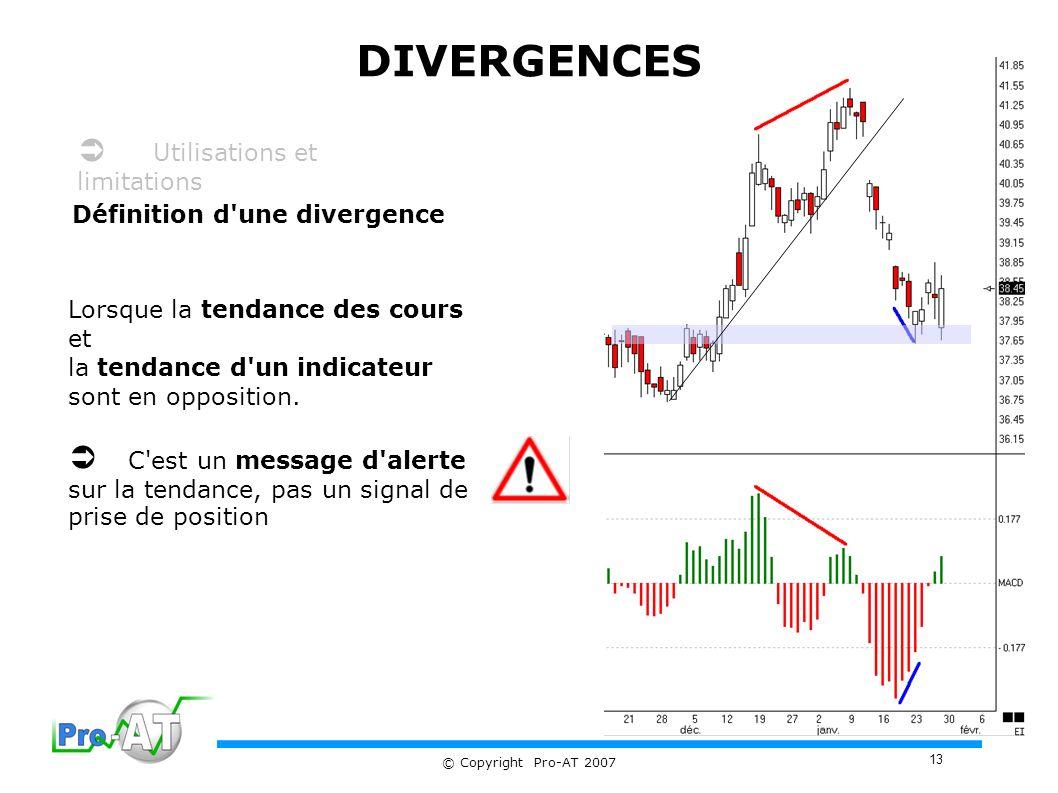 DIVERGENCES  Utilisations et limitations