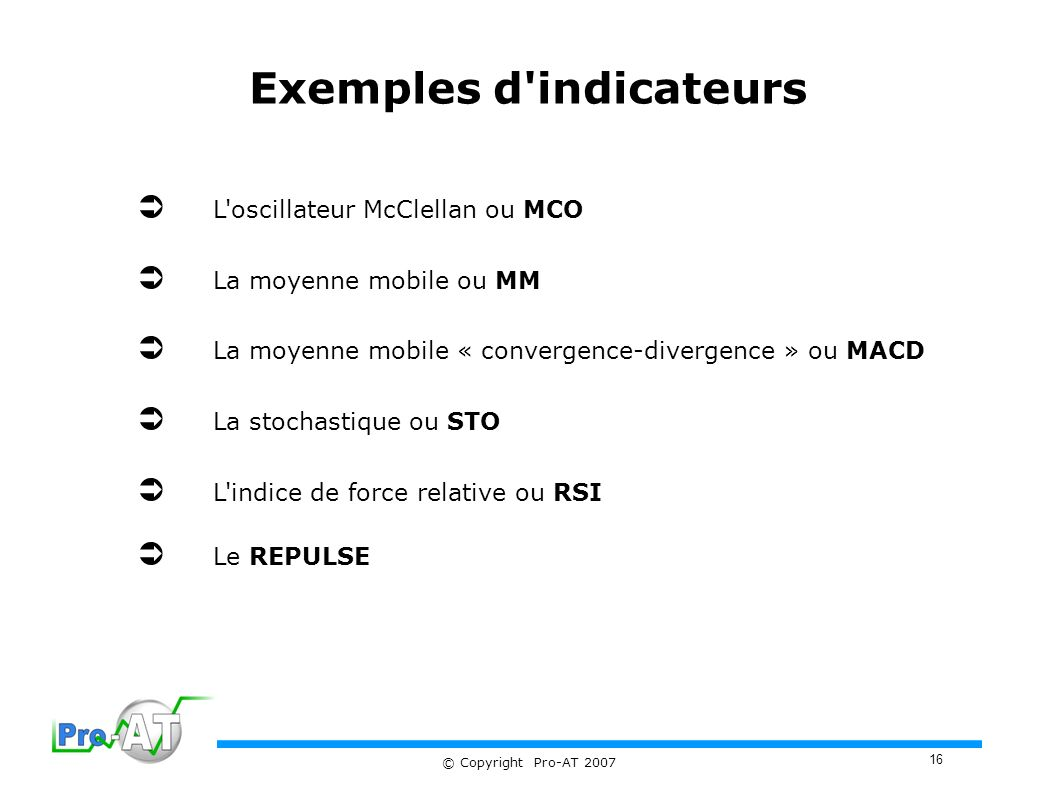 Exemples d indicateurs