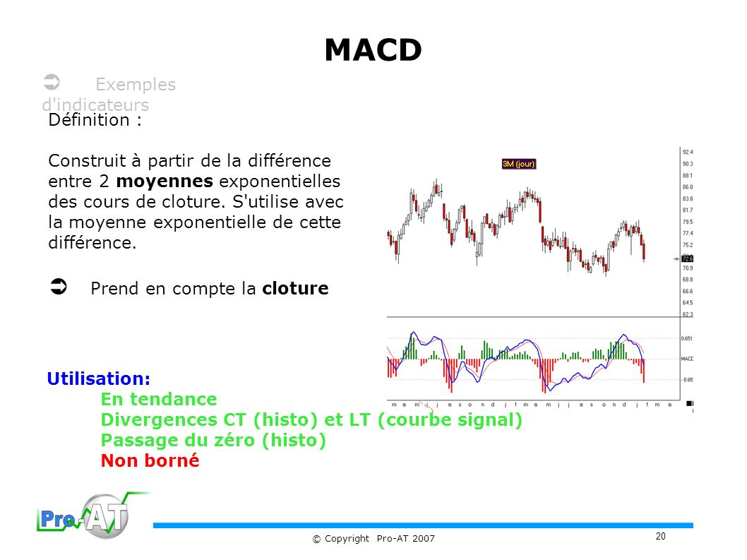 MACD  Exemples d indicateurs  Prend en compte la cloture