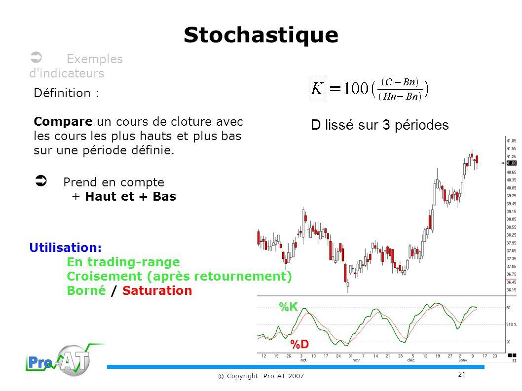 Stochastique  Exemples d indicateurs  Prend en compte