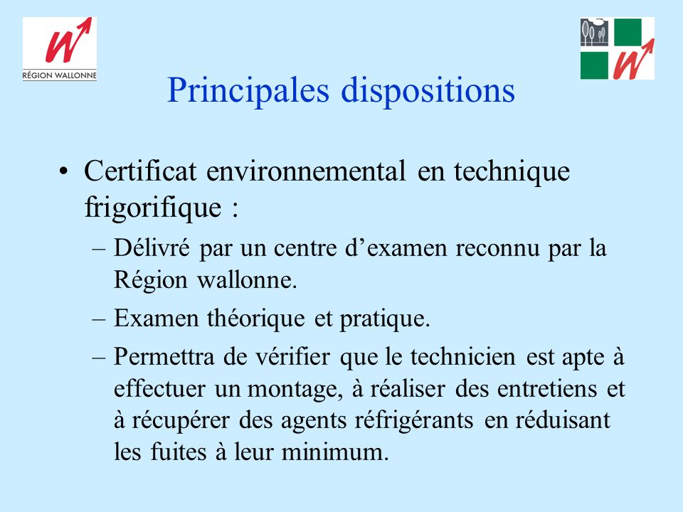 Principales dispositions