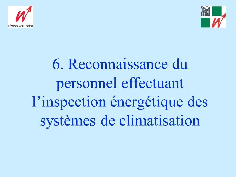 6. Reconnaissance du personnel effectuant l'inspection énergétique des systèmes de climatisation
