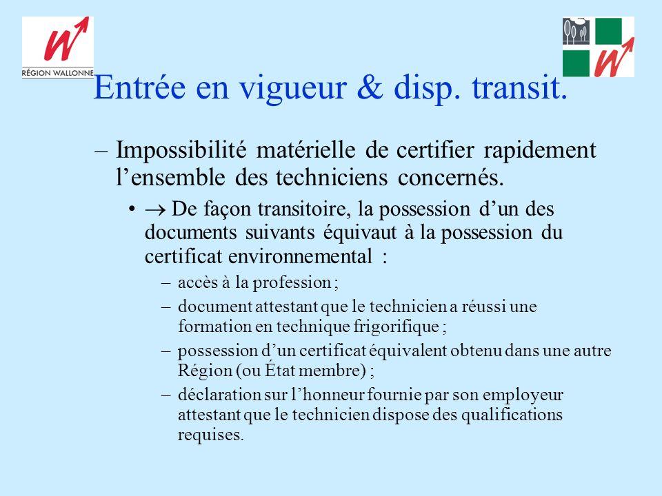 Entrée en vigueur & disp. transit.