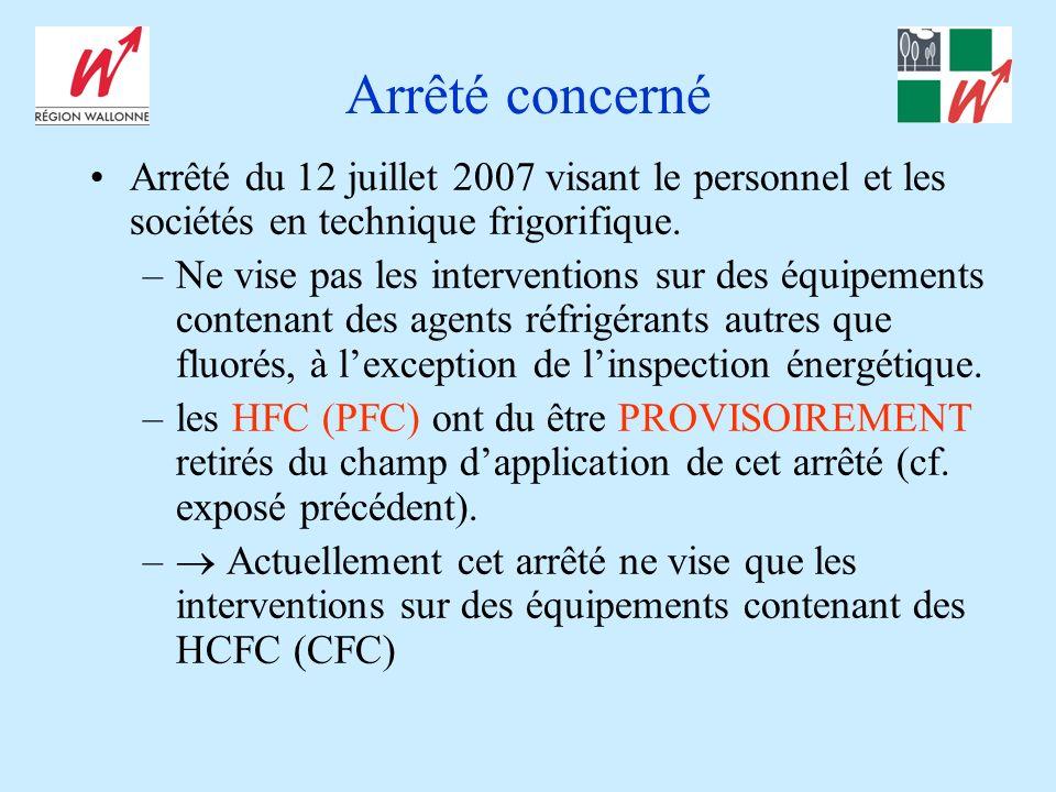 Arrêté concerné Arrêté du 12 juillet 2007 visant le personnel et les sociétés en technique frigorifique.