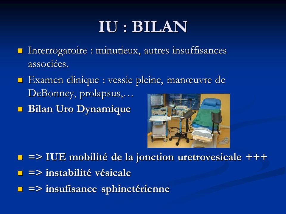 IU : BILAN Interrogatoire : minutieux, autres insuffisances associées.