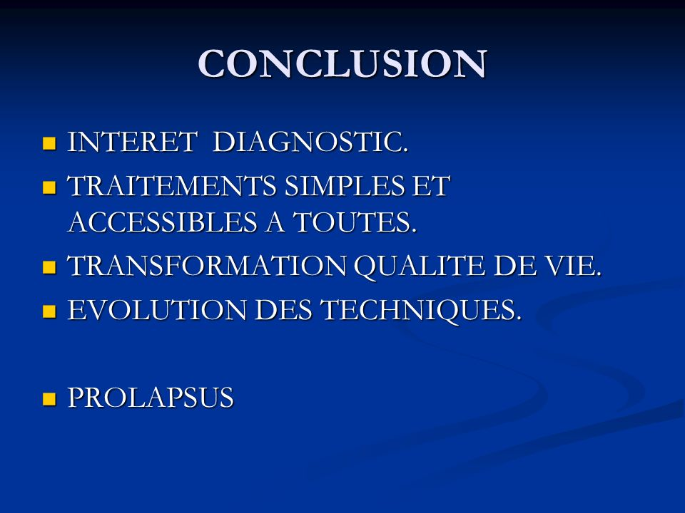 CONCLUSION INTERET DIAGNOSTIC.