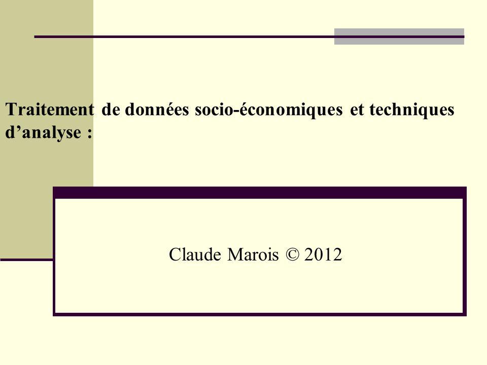 Traitement de données socio-économiques et techniques d'analyse :
