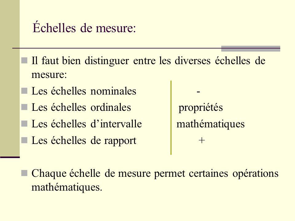 Échelles de mesure: Il faut bien distinguer entre les diverses échelles de mesure: Les échelles nominales -
