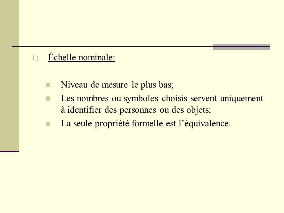 Échelle nominale: Niveau de mesure le plus bas; Les nombres ou symboles choisis servent uniquement à identifier des personnes ou des objets;