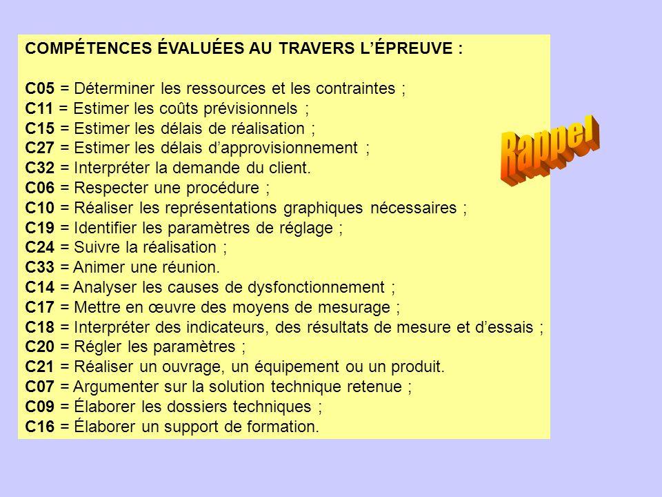 Rappel COMPÉTENCES ÉVALUÉES AU TRAVERS L'ÉPREUVE :