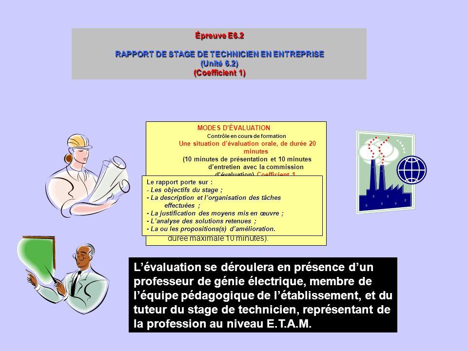 Épreuve E6.2 RAPPORT DE STAGE DE TECHNICIEN EN ENTREPRISE. (Unité 6.2) (Coefficient 1) MODES D'ÉVALUATION