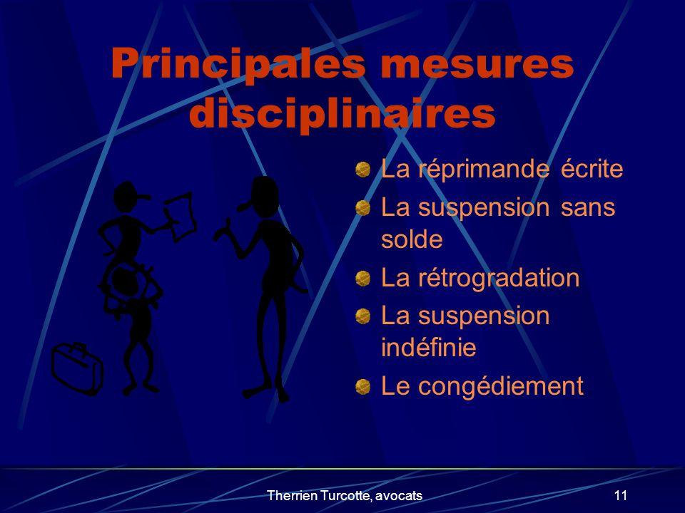Principales mesures disciplinaires