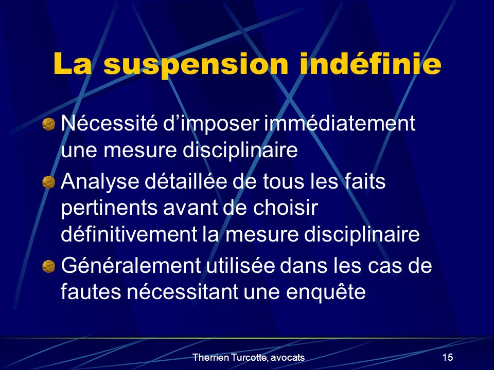 La suspension indéfinie