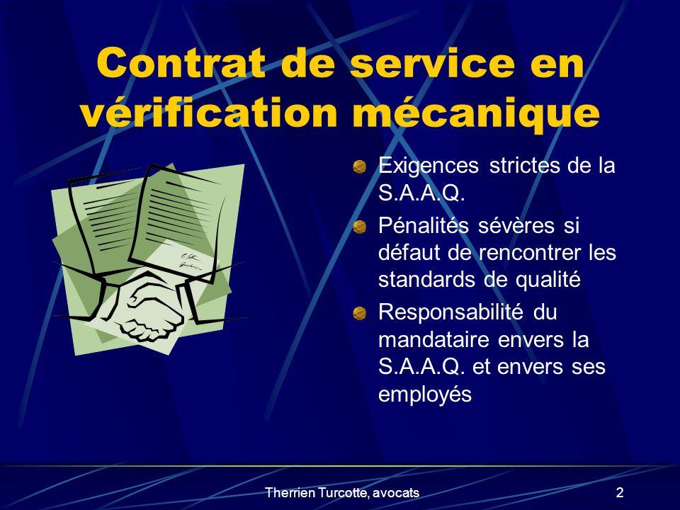 Contrat de service en vérification mécanique