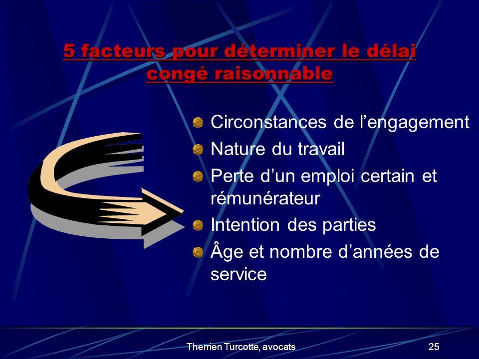 5 facteurs pour déterminer le délai congé raisonnable