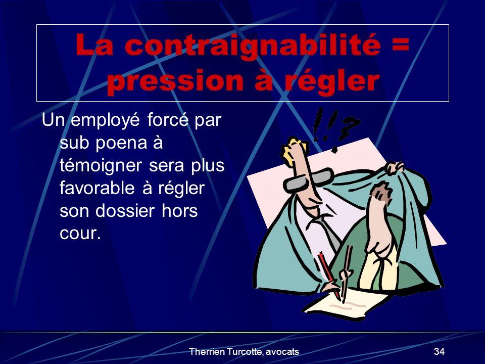 La contraignabilité = pression à régler