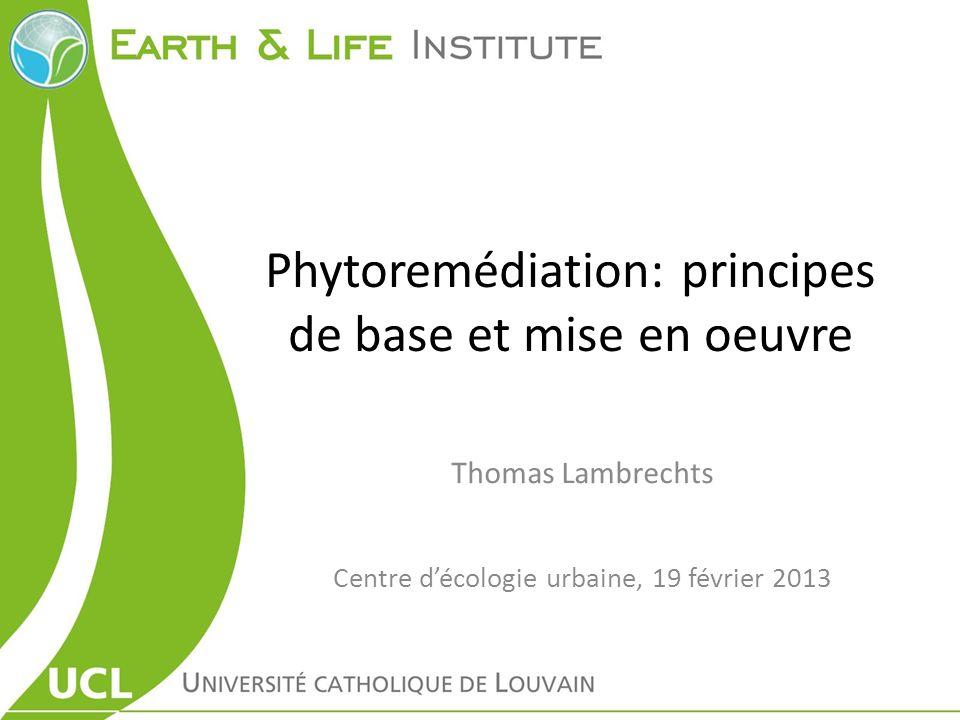 Phytoremédiation: principes de base et mise en oeuvre
