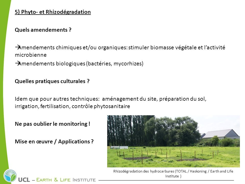 5) Phyto- et Rhizodégradation Quels amendements