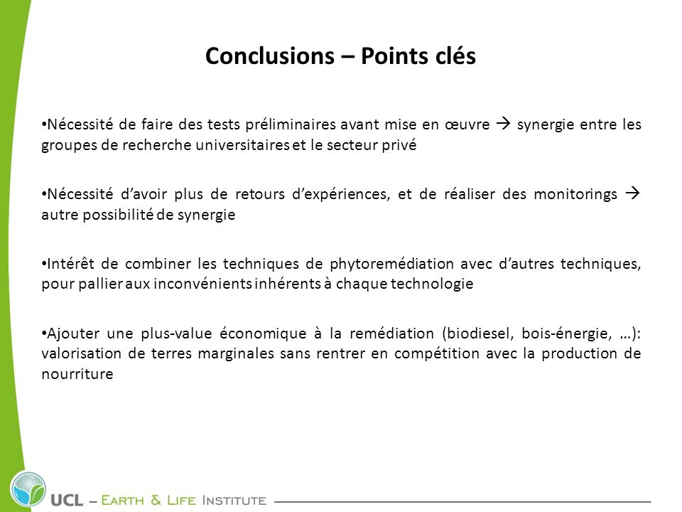 Conclusions – Points clés