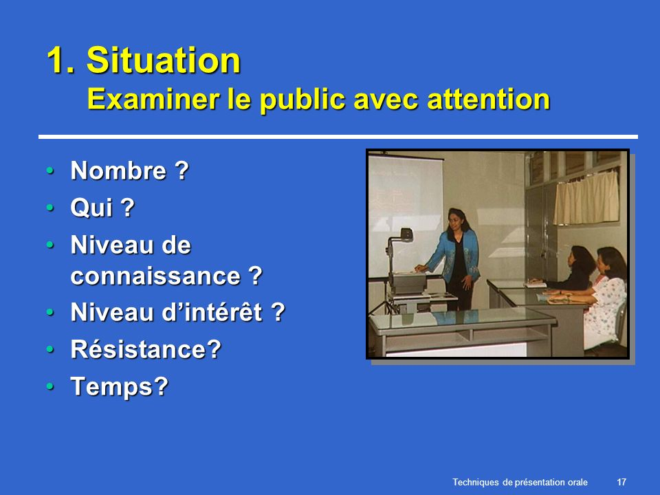 1. Situation Examiner le public avec attention
