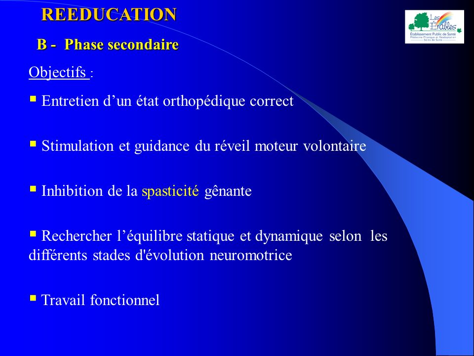 REEDUCATION B - Phase secondaire Objectifs :