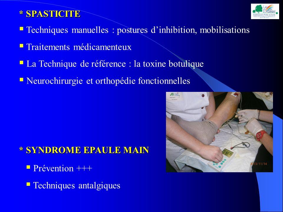 * SPASTICITE Techniques manuelles : postures d'inhibition, mobilisations. Traitements médicamenteux.