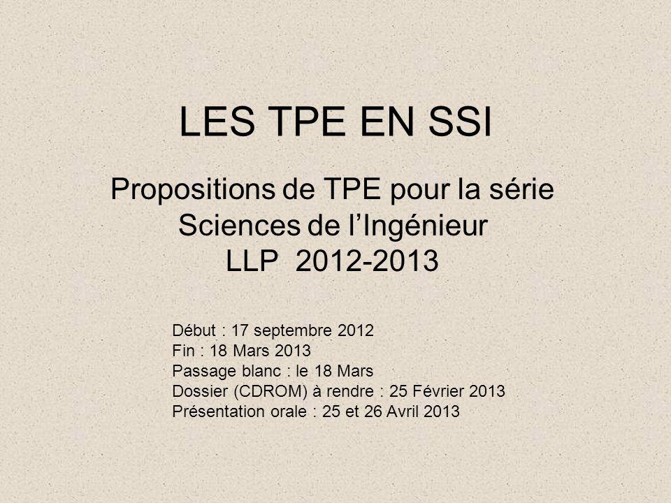 LES TPE EN SSI Propositions de TPE pour la série Sciences de l'Ingénieur LLP 2012-2013. Début : 17 septembre 2012.