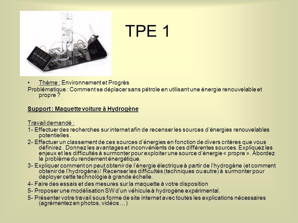 TPE 1 Thème : Environnement et Progrès