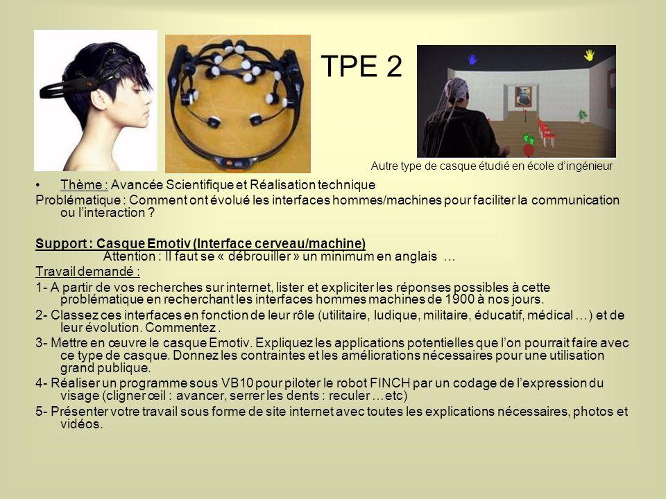 TPE 2 Thème : Avancée Scientifique et Réalisation technique