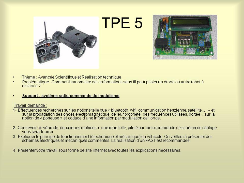 TPE 5 Thème : Avancée Scientifique et Réalisation technique